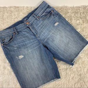LOFT Distressed Jean Shorts Raw Hem Sz 30/10